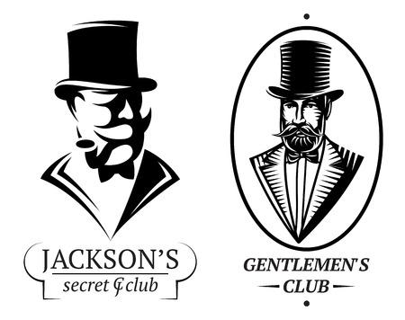cigarro: conjunto de plantillas de logotipo de vector para el club de caballeros