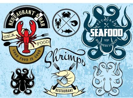 set of vector patterns with lobster, octopus, shrimp for logo design seafood