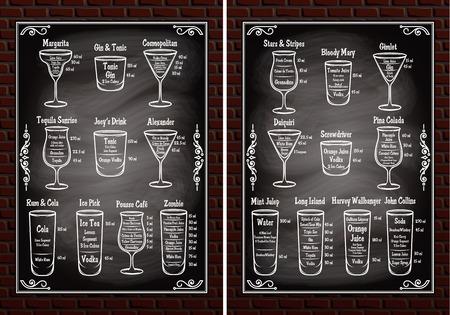 margarita cocktail: conjunto de ingredientes esquemas para hacer cócteles Vectores