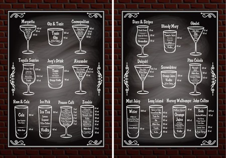set of schemes ingredients for making cocktails