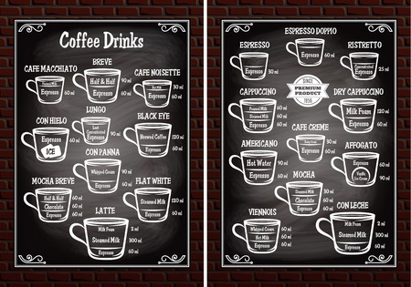 A set of cups with different coffee drinks for restaurant menu Illustration