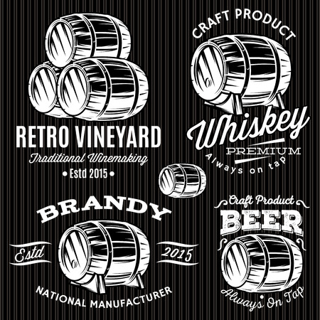 set of vector patterns for monochromatic emblems with barrels