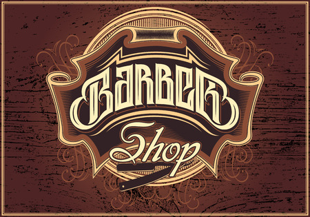 shop: brown vector sign for a barber shop