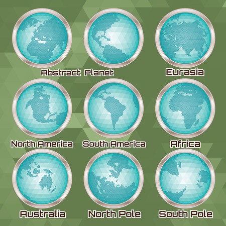 world: set of polygonal abstract globes with different mainlands