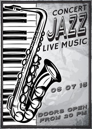 retro poster met saxofoon en piano voor jazz festival