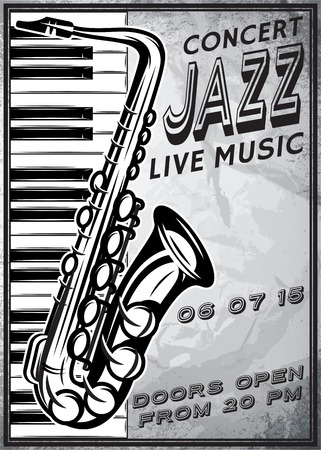 retro poster with saxophone and grand piano for jazz festival