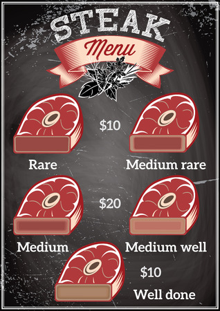 varying: template for a restaurant menu with steaks of varying degrees of roasting Illustration