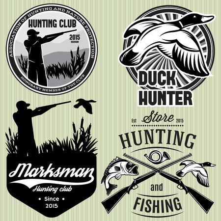 pistolas: conjunto de patrones de vectores con pato, inmersión, arma, cazador de caza emblema Vectores