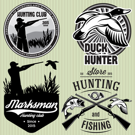 set of vector patterns with duck, dip, gun, hunter for hunting emblem