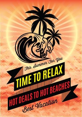 vacaciones en la playa: cartel retro con una palmera y una inscripción para el turismo
