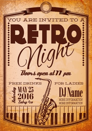 business invitation: retro poster for billboard with a saxophone and piano Illustration
