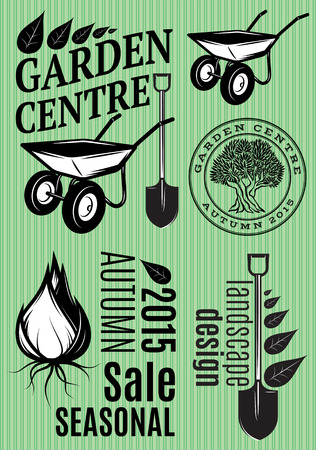 Set of patterns in a retro style for the garden center, festival