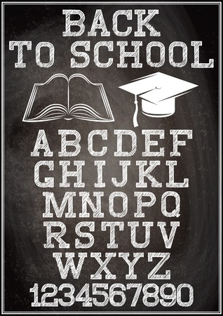 black grunge background: Black grunge background with stylish alphabet for back to school Illustration