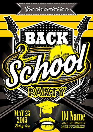 vector template for a retro party, back to school