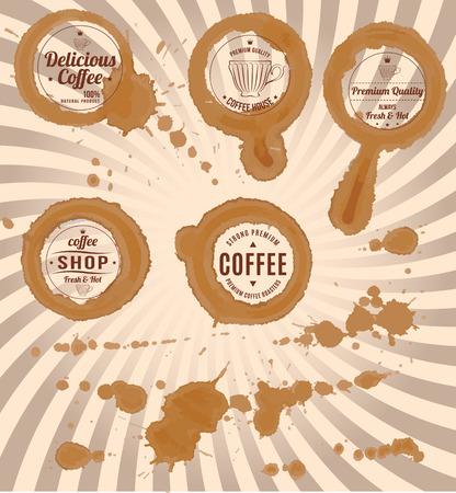 manchas de cafe: conjunto de aislados manchas de caf� con sellos y salpicaduras