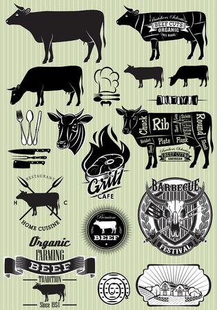 vaca: vector conjunto de plantillas en el tema de la carne de vaca para el dise�o