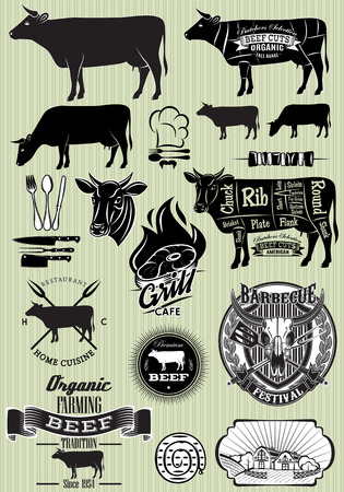 vector set of templates on the theme of cow beef for design