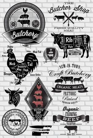 carnicero: conjunto de etiquetas para el carnicero en una pared de ladrillo Vectores