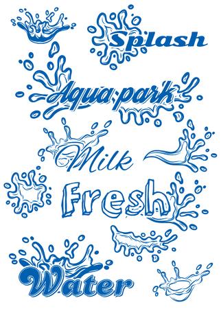 splash de agua: conjunto de plantilla de vectores con elementos del agua de la leche, jugo, agua pura Vectores