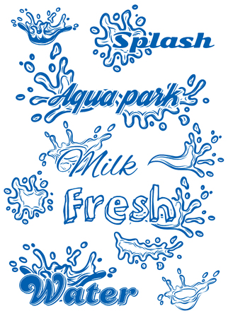 fresh water splash: set of vector template with elements of the water for milk, juice, pure water