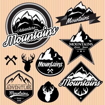 summit: set of vector templates for emblems with different mountains Illustration