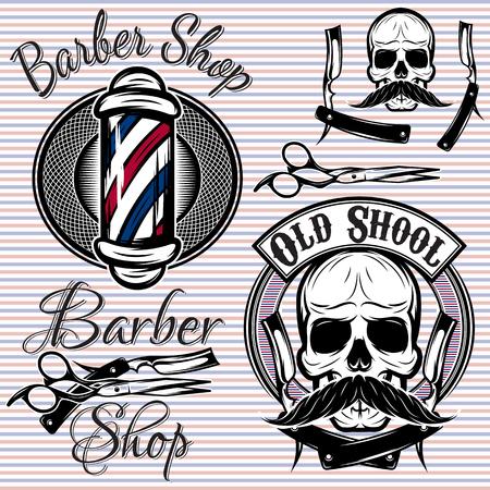 peluquerias: conjunto de vectores emblemas en una barbería tema Vectores