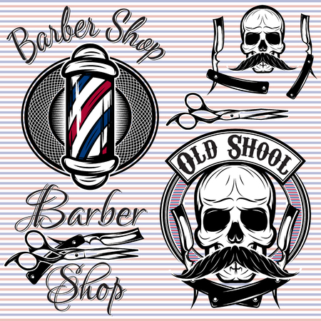 set of vector emblems on a theme barber shop Çizim