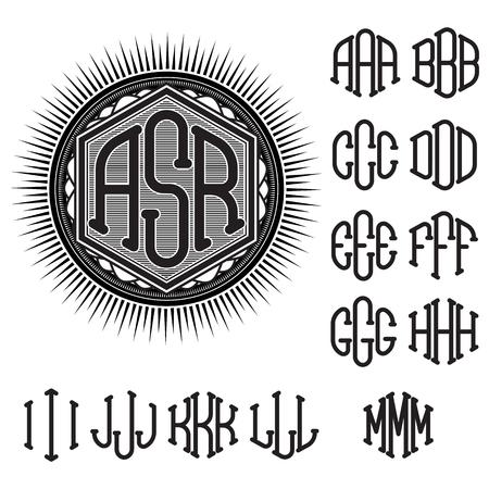 initials: set of letters for decoration of stylish retro monogram Illustration