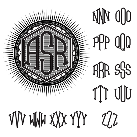 set of letters for decoration of stylish retro monogram 向量圖像