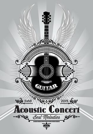 concerto rock: elegante cartel retro con una guitarra para la cartelera de conciertos