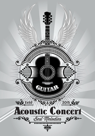 grunge music background: stylish retro poster with a guitar for the concert billboard Illustration