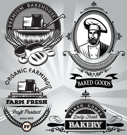 estampilla: un conjunto de emblemas en el bicarbonato de tema con la cosechadora de panadero Vectores