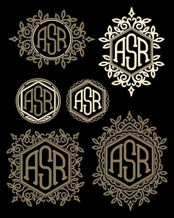 line art: conjunto de patrones de vectores retro monogramas con elementos florales