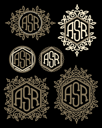 antique art: set of vector retro patterns monograms with Floral elements Illustration