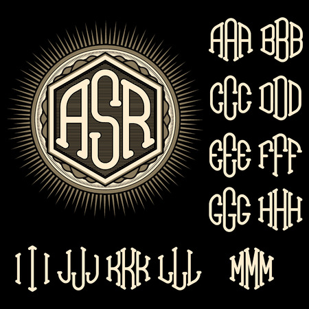 old letters: set of letters for decoration of stylish retro monogram Illustration