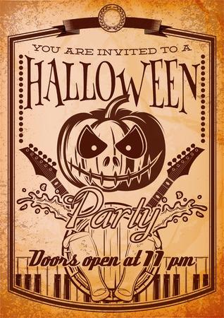 treats: estilo retro del cartel del grunge para el partido de Halloween