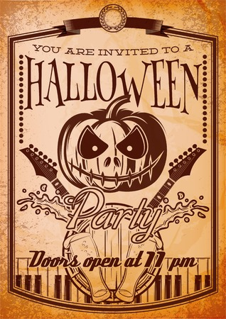 retro party: stylish retro grunge poster for halloween party