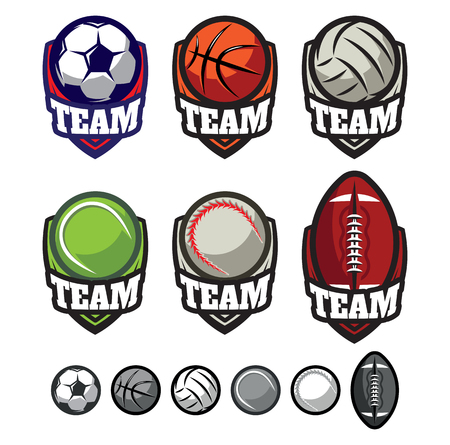 team sport: template logos for sports teams with different balls
