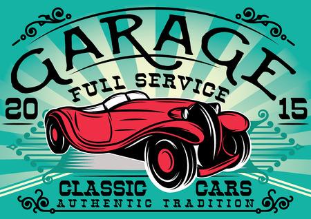 repuestos de carros: elegante cartel retro con un coche de la estación de servicio