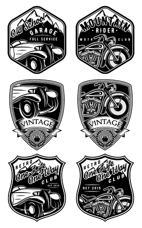 motor sport: set of retro badges with car and motorcycle on the background with mountains