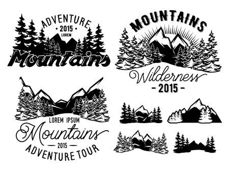 logotipo turismo: Conjunto de los modelos monocromo paisaje con montañas y bosques de abeto Vectores