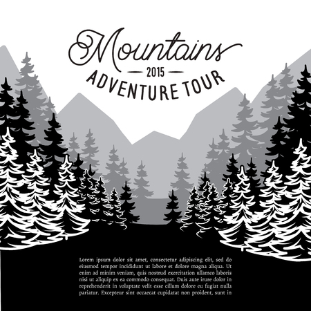 multifaceted: Vector multifaceted fir forest landscape against mountains Illustration