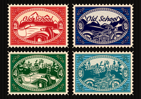 vintage postcard: template set of stamps with the car and motorbike