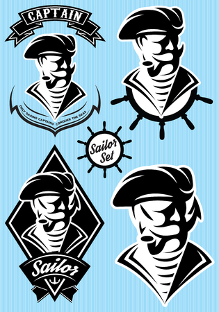 sea robber: set vector template in retro style with pirate