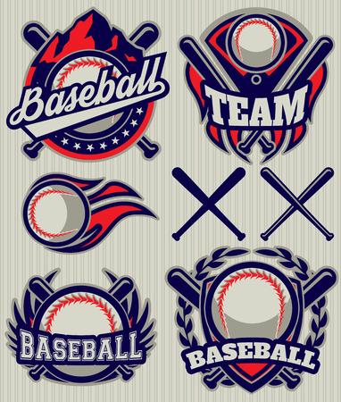 bate: conjunto de plantilla de los deportes con la bola y los murciélagos para el béisbol
