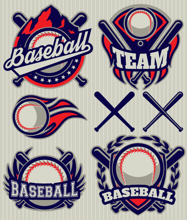 red competition: set of sports template with ball and bats for baseball