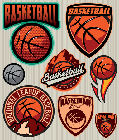 basketball ball on fire: set of sports Template  for baseball with ball and mountains Illustration