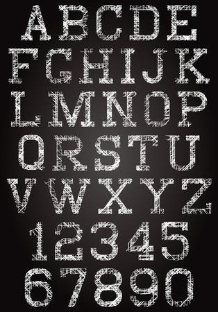 rhetorical: stylized retro font and set of digits