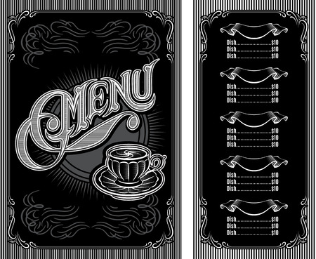 black and white pattern for coffee restaurant menu Illustration