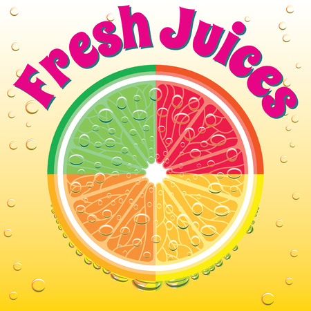 the juice: advertising banner for juice grapefruit, orange, lime, lemon Illustration